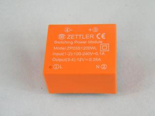 ZPD03S1200W AC/DC 3W ING, 100-240VAC OUT 12V